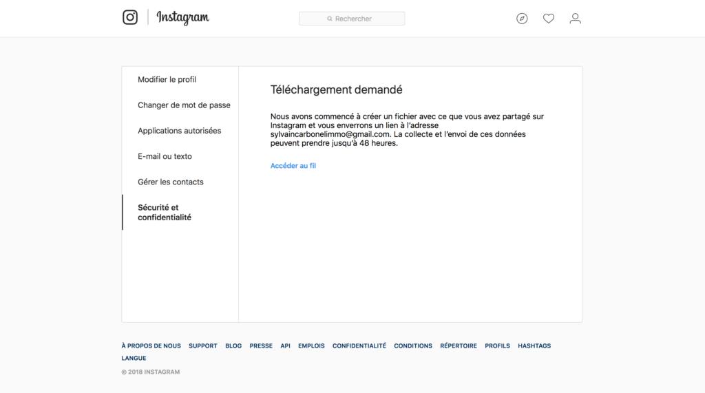 Télécharger toutes ses données sur instagram