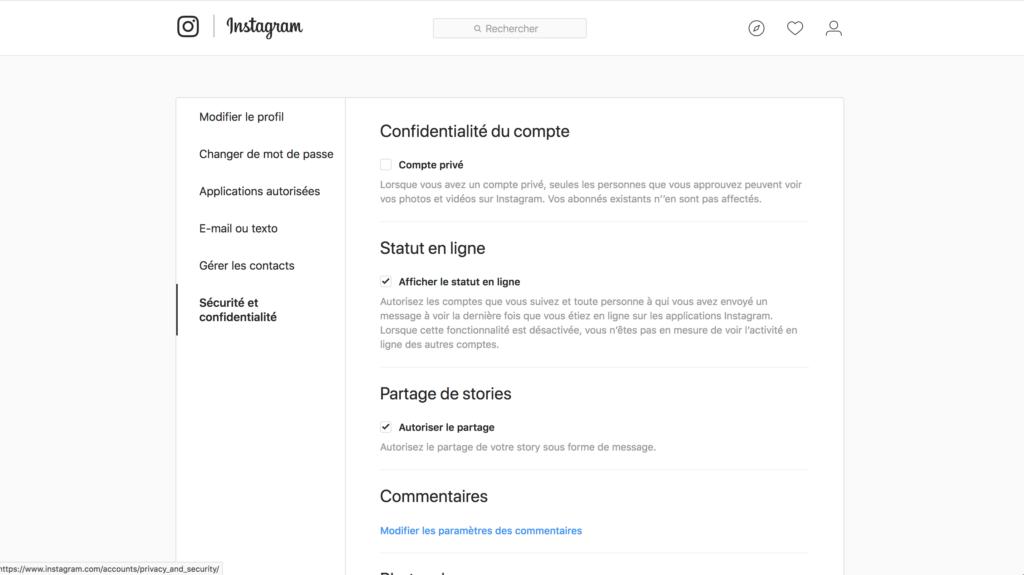 sécurité et confidentialité sur instagram