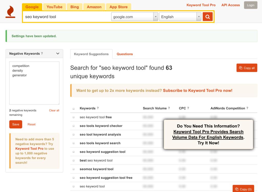 Keyword Tool pour chercher les mots clés